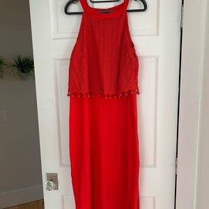 Anthropologie Red Crochet Midi